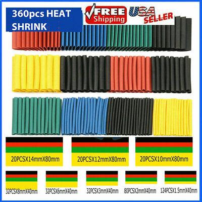 360pcs Heat Shrink Tubing Insulation Shrinkable Tube 21 Wire Cable Sleeve Kit