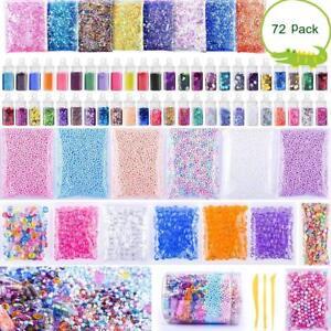 72 pack Slime Supplies Kit Foam Charms Glitter Fishbowl Kids Crafts DIY Gift US