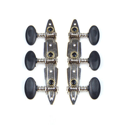 3-on-Plate Acoustic Guitar Tuners Set, Black knobs (3x3), Unique Shaped plate