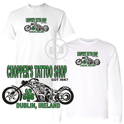 Chopper's Tattoo Shop Dublin Ireland Got Ink Short / Long Sleeve White T Shirt - Ink Tattoo Shop