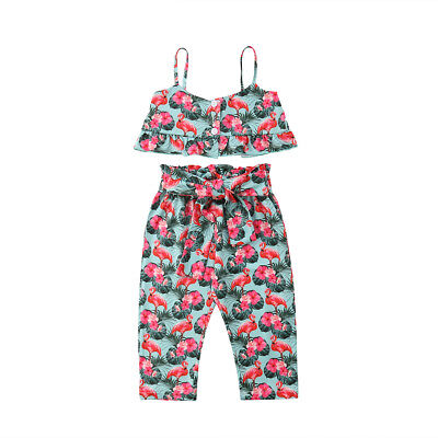 Flamingo Kids Baby Girl Outfits Clothes Ruffle Tops+Long Pants Playsuit 2PCS Set - Flamingo Girl