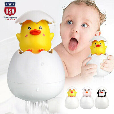 Kids Baby Bath Toy Duck Penguin Egg Water Spray Sprinkler Shower Swimming Toys