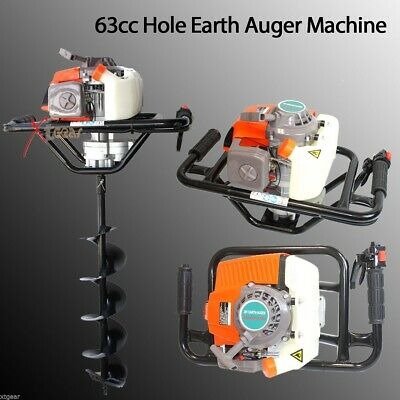 63cc 3hp One Man Gas Power Head Hole Earth Auger Machine W6 And 10 Bits