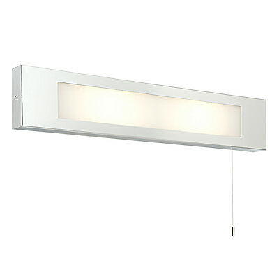 Saxby 39913 Panello Chrome Frosted Glass Bathroom Wall Light & Shaver Socket