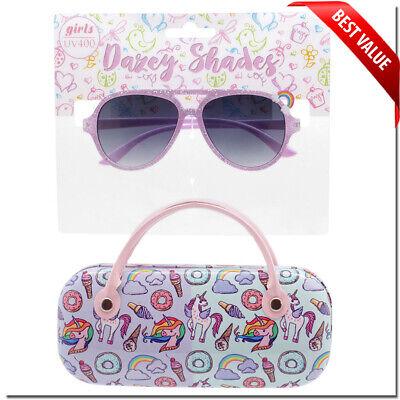GIRLS KIDS AVIATOR SUNGLASSES UNICORN CASE  6 - 12 WITH MATCHING CASE (Girls With Sunglasses)