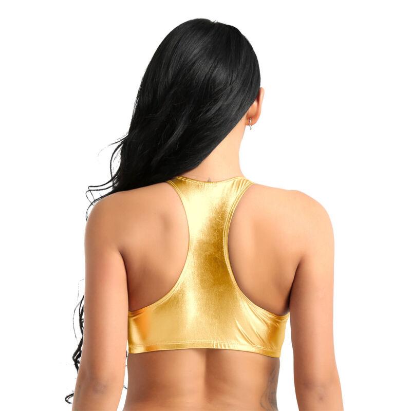 US# Women Summer Leather Sleeveless Cut Out Crop Tops Swim Top T-shirt Dancewear