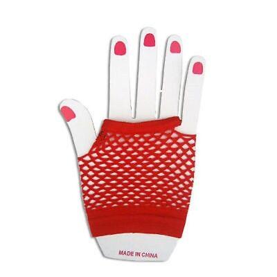 Neon Farben Shorts Fischnetz Kostüm Fingerlose Handschuhe Rot 80s Jahre