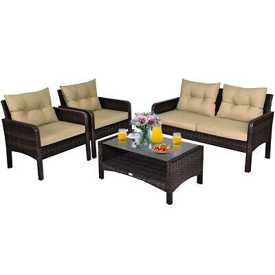 Garden Furniture - 4PCS Patio Rattan Furniture Set Loveseat Sofa Coffee Table Garden W/ Cushion