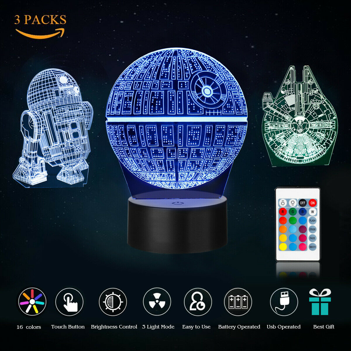 3 Packs Star Wars Death Star 3d Led Night Light 16 Colors