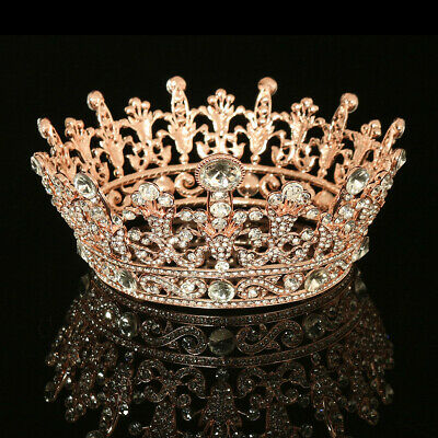 Beautiful Gold Full Round Crystal Queen Crown Rhinestone Bridal Tiara Pageant US