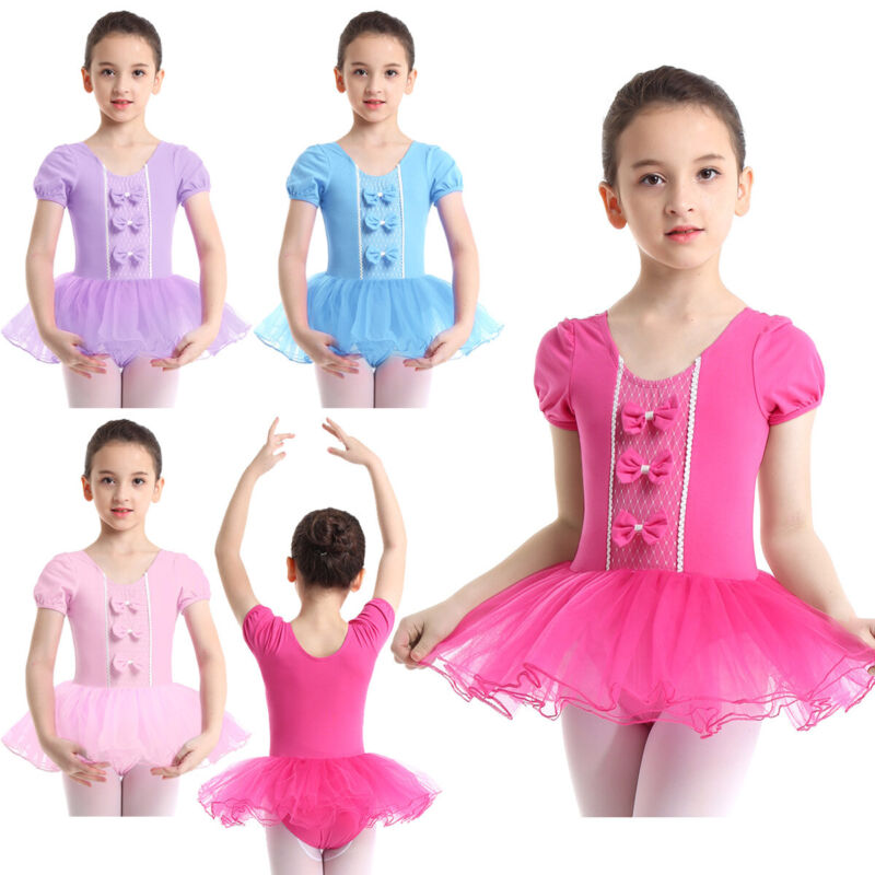 Kinder Mädchen Latein Kleid Ballettkleid Pailletten Tanzkleid mit Mesh Röckchen