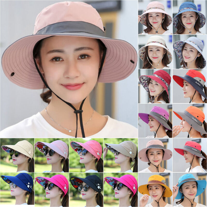 Women's Summer Sun Hat Travel Wide Brim Beach UV Protective Hiking Outdoor Cap Clothing, Shoes & Accessories