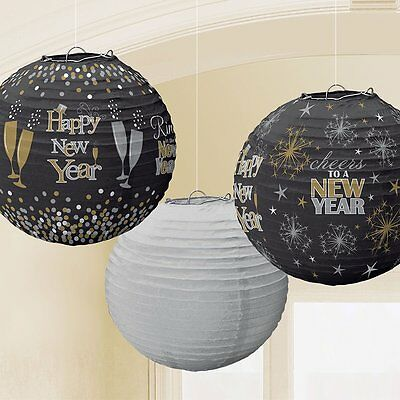3 Happy New Year Party Champagne Celebration Hanging Decoration Lanterns