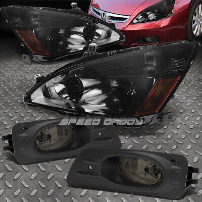 - SMOKED HOUSING AMBER CORNER HEAD LAMP+TINT BUMPER FOG LIGHT FOR 06-07 ACCORD 4DR
