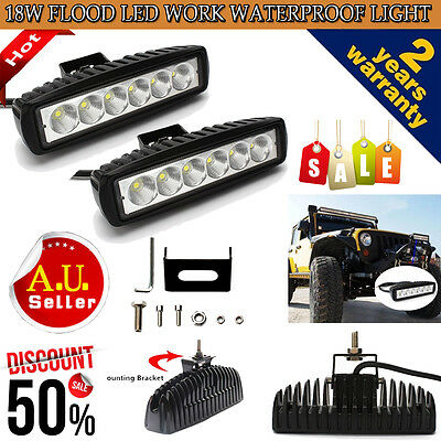 2Pcs 18W Cree LED Work Light Waterpoof Flood Beam SUV Truck Car ATV Driving Lamp