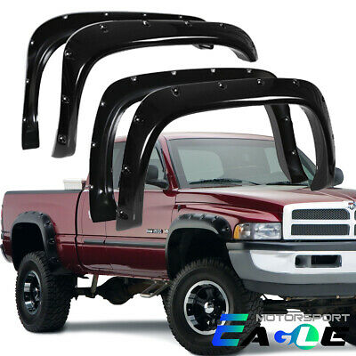 Black Rivet Pocket Style Fender Flares for 94-02 Dodge Ram 2500 3500 94-01 1500
