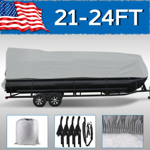 21 22 23 24FT Boat Cover Waterproof Trailerable Pontoon Heavy Duty Fabric Gray