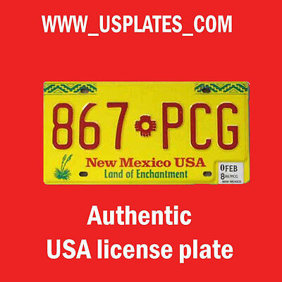 NEW MEXICO REAL AUTHENTIC LICENSE PLATE AUTO NUMBER CAR YELLOW RED ZIA AUTO TAG