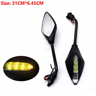 10MM Motorcycle LED Turn Signal Lights Indicators Rear View Mirrors ABS plastic