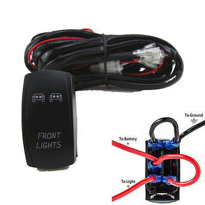 ATVRV FrontFogWork Light Bar Wiring Harness 40 Amp Relay ON OFF Laser Rocker