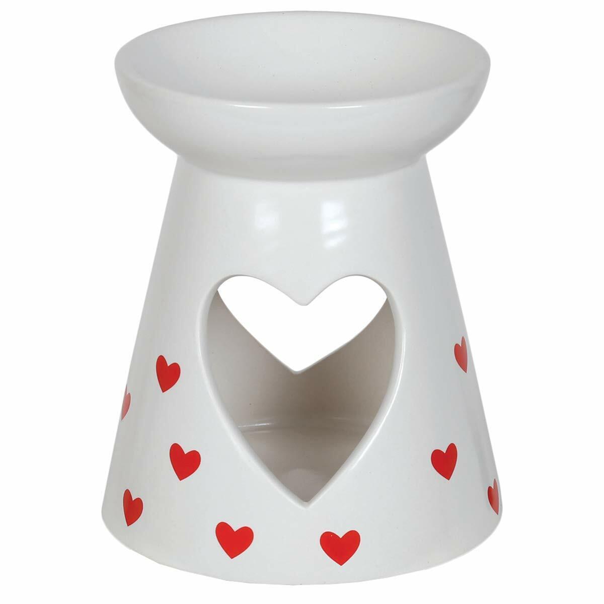 Aroma Accessories Red Hearts Pattern Ceramic Wax Melt Burner 13cm high