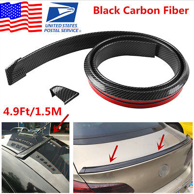 Universal 4.9ft//1.5M Car Rear Roof Trunk Spoiler Wing Lip Trim Sticker Kit Black