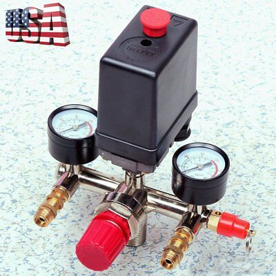 Manifold Regulator Gauges120psi Air Compressor Pressure Switch Control Valve Oy