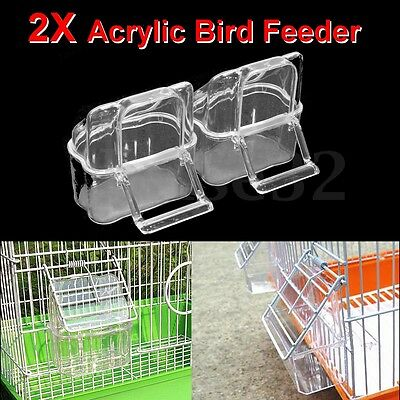 2 X Acrylic Budgie Canary Bird Seed Food Feeder Clear Bowl with Perch Cage
