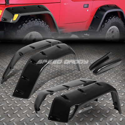 "FOR 97-06 JEEP WRANGLER 7"" TEXTURED BLACK POCKET-RIVETED WHEEL FENDER FLARES"