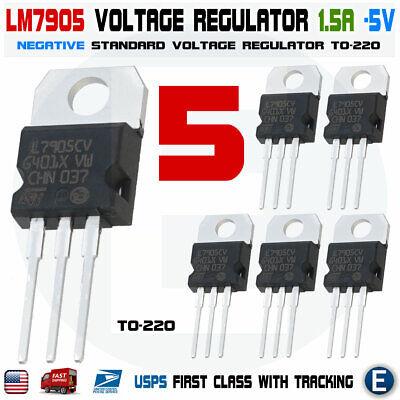 5pcs Lm7905 Negative 5 Volt Regulator 1.5 Amp To220 - L7905 7905 Usa