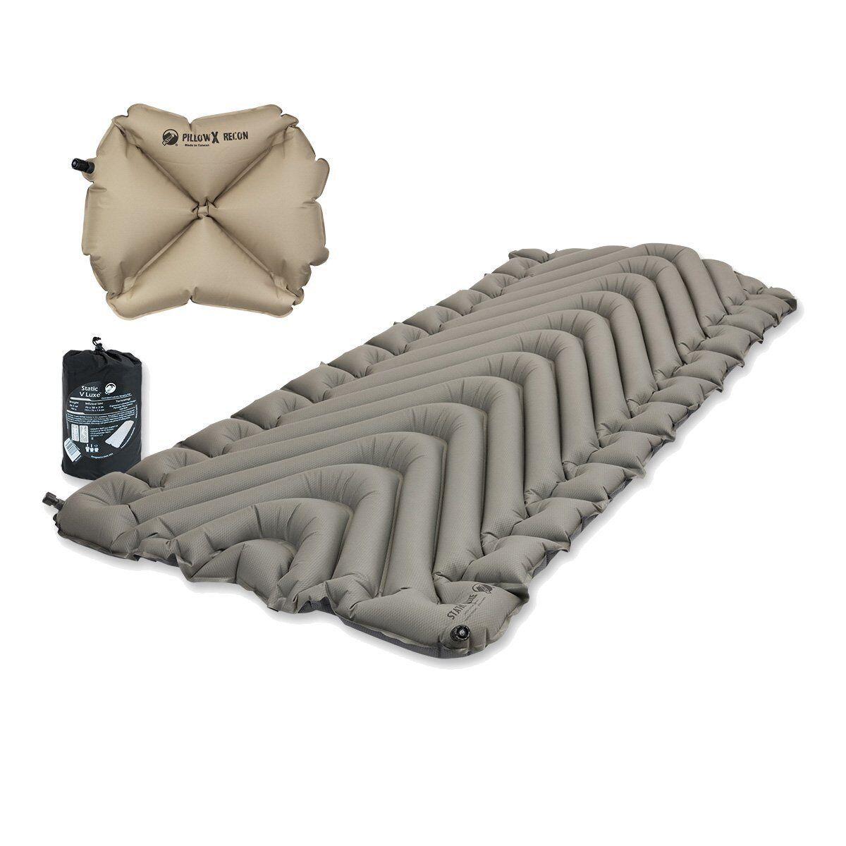 Klymit Static V Luxe Sleeping Pad X-Large Gray w/ Pillow X R