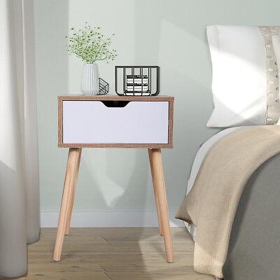 Wood End Table Modern Nightstand Sofa Side Table w/ 1 Drawer Storage Bedside Tab (1 Drawer Modern Nightstands)