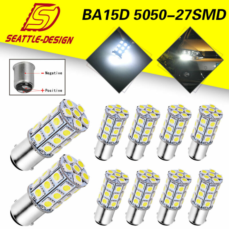 10x Pure White BA15D 5050 27SMD RV Marine Boat Trailer LED Light bulbs 1142