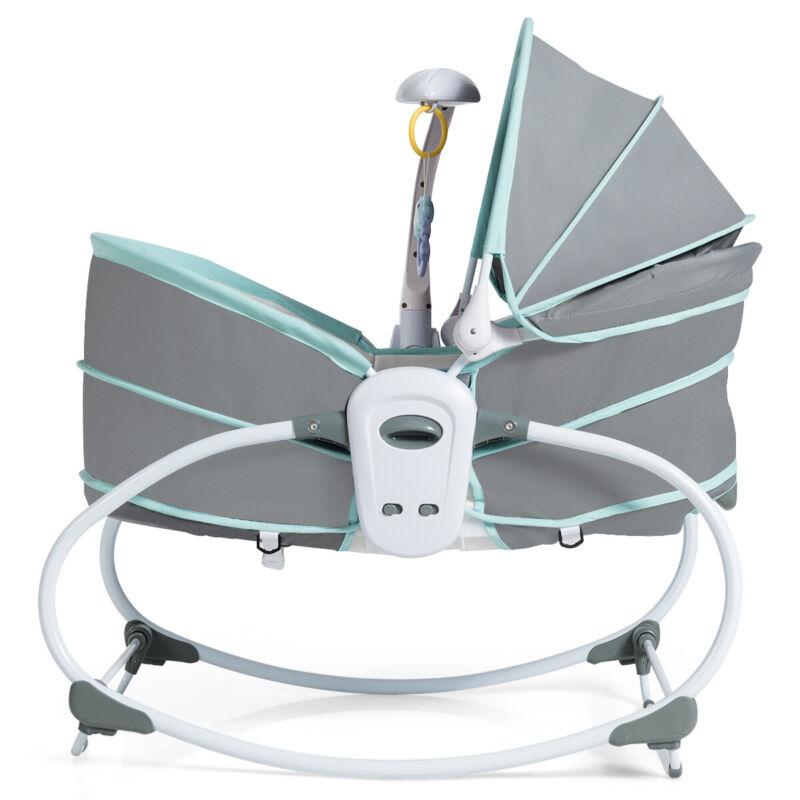 5 in 1 Portable Baby Rocking Bassinet Multi-Functional Crib w/ Canopy Warm