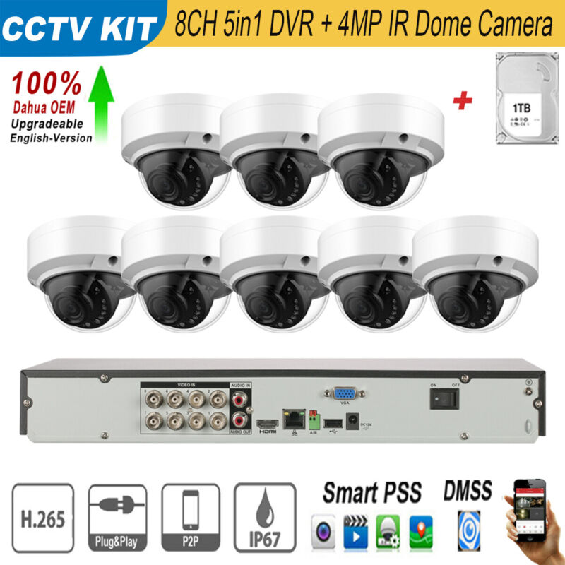 Dahua OEM 4MP 8CH DVR Security Surveillance Dome Camera Wired System 1TB HDD