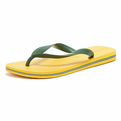 Havaianas Brasil Logo Mens Banana Yellow Flip Flops Casual Summer Beach Shoes