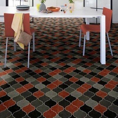 PVC Bodenbelag Fliesen Retro orientalisch rot 400 cm Breite pro qm = 6,00 €  - Rot Bodenfliesen
