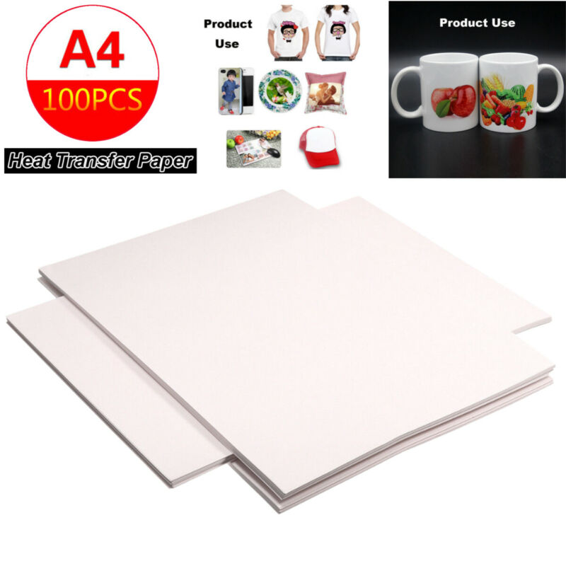 100pcs A4 Sublimation Heat Transfer T-shirts Iron-on Paper F