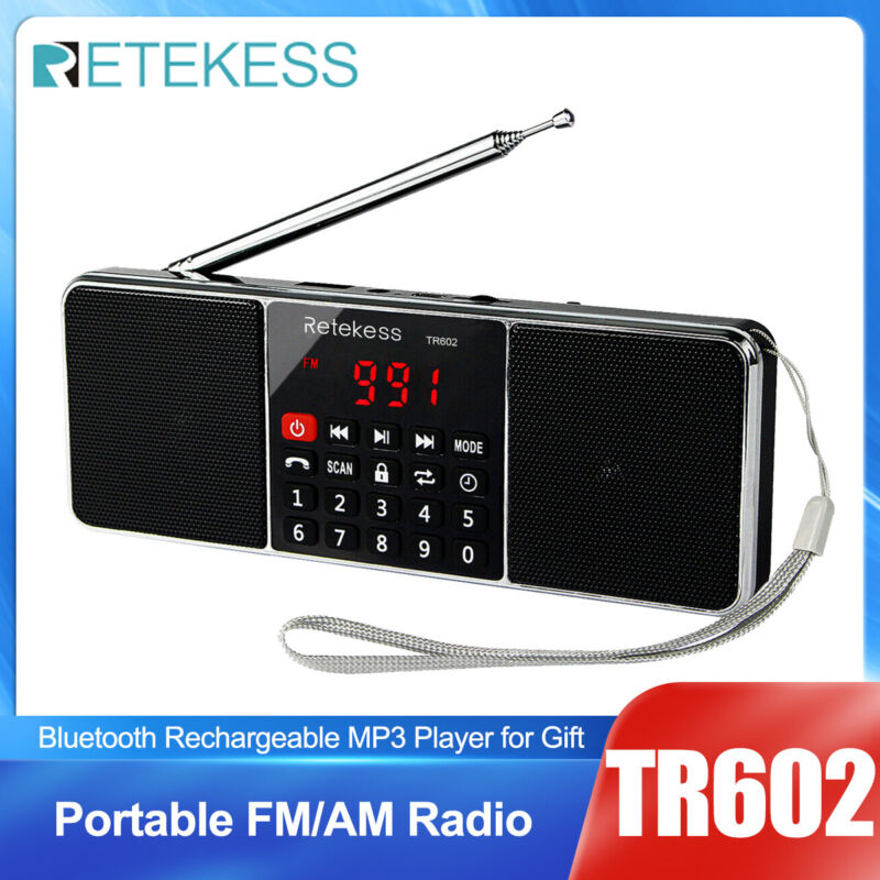 Portable FM/AM Radio Stereo Bluetooth Speaker Rechargeable MP3 Player for Gift