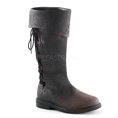 Steampunk Boots Men (Black Brown Steampunk Medieval Knight Jaime Lannister Mens Costume Knee)