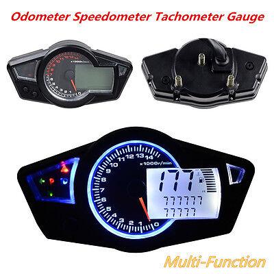 Motorcycle 15000 RPM Multi-Function LCD Odometer Speedometer Tachometer Gauge