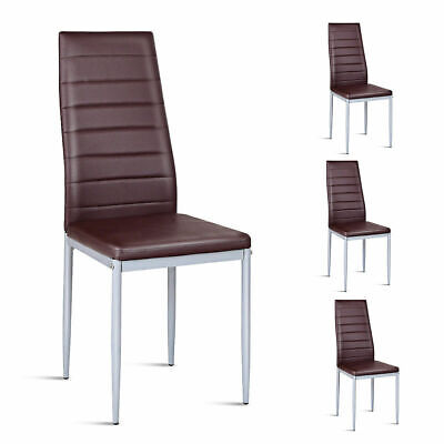 Set of 4 PVC Leather Dining Side Chairs Elegant Design Home Furniture Brown