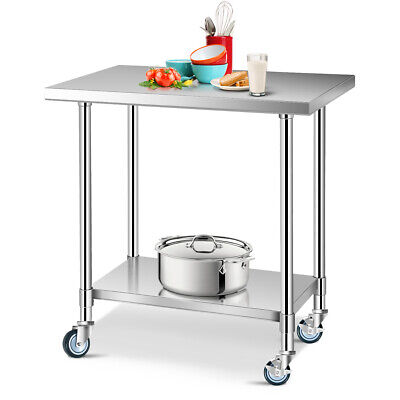 24 X 36 Stainless Steel Commercial Kitchen Tool Prep Work Table W 4 Wheels