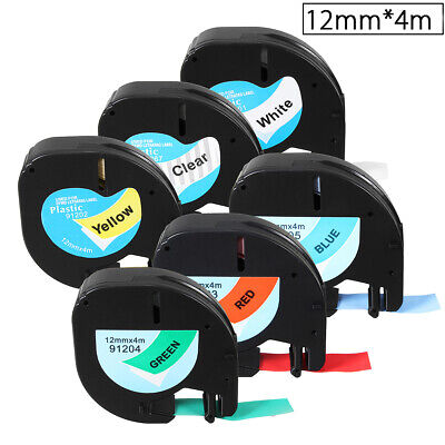 12mmx4m-7m Plastic Label Tape Roll Refill For Dymo Maker Letratag 91201 91200 D1