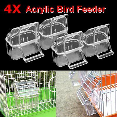 4X Acrylic Budgie Canary Bird Seed Food Feeder Clear Bowl with Perch Cage
