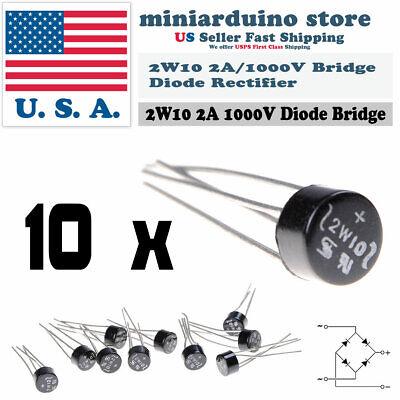10pcs 2w10 2a 1000v Diode Bridge Rectifier Round 4 Pin Single Phase New