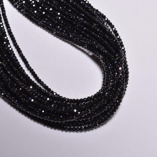 Natural black spinel (5 strands bunch) 2- 3 mm diamond cut beads rondelles 32 cm