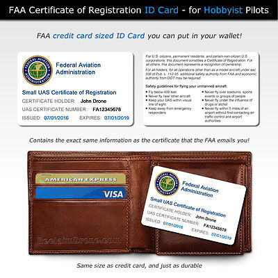 Drone FAA UAS Certificate of Registration - Hobbyist ID Card for wallet