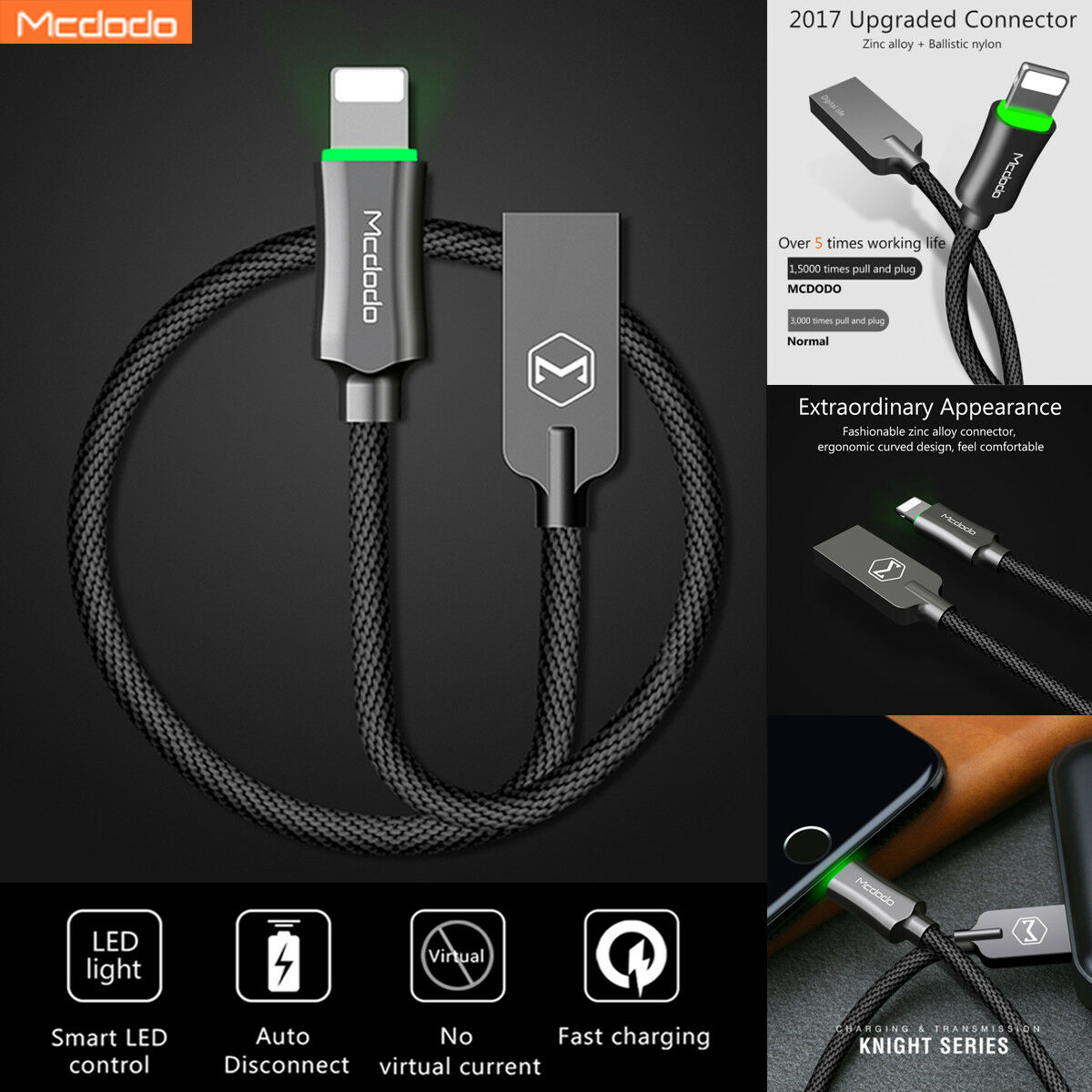 online retailer 660cc d110d MCDODO LED Auto Disconnect Lightning USB Charger Cable iPhone XS Max ...