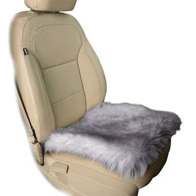 Zone Tech Gray Faux Sheepskin Car Seat Home Cushion Fur Pad Cover Warm Mat